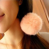 Wholesale 50pcs Korean Artificial Rabbit Fur quot Ball Elastic Hair Band Ponytail Holder Girls Headband hair rope ring hairband Hair Accessories Gift
