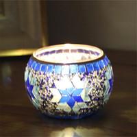 Wholesale MOSAIC CANDLE HOLDER TEA LIGHT CUP HANDMADE GLASS BLUE DECORATION HOME ROMANTIC