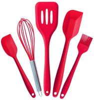 Wholesale 5pcs red Silicone Kitchenware Suit Heat Resistant Kitchen Utensil Set Non Stick Cooking Tool Coating Spatula Spoon Basting Brush