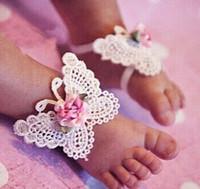 al por mayor pie del bebé de la mariposa-Accesorios infantil de los bebés del desgaste del pie linda de los niños mariposa viva DIY flor de las sandalias descalzas + vendas 3pcs Set Zapatos niños del desgaste 9324