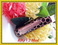 Cheap Rig v2 Mod Red Copper 18650 battery Vaporizer Electronic Cigarettes fit Rig V2 Kit VS Tesla Invader III Mod CHERRY BOMBER mod