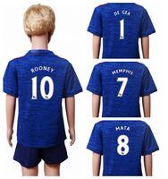 Thailand jersey soccer Baratos-2016 17 niños Manchester uniforme azul camisetas de fútbol superior de Tailandia de fútbol con descuento, marca de deportes del fútbol para los niños
