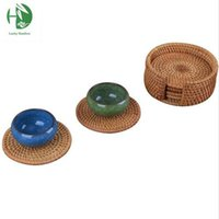 bamboo rattan table - Rattan tea cup mats coaster drink table mat set round handmade kungfu tea coffee cup pads sizes kitchen household placemat
