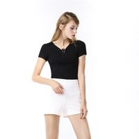 Wholesale Sexy Tops Womens Shirts Lace up Cap Sleeve Shorts T Shirt Black White Casual Clothes Free Size
