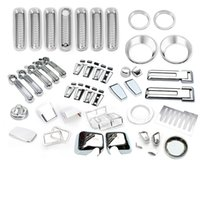 Wholesale For Jeep Wrangler JK or Door Exterior Parts ABS Chrome Cover Trim Accessories Full Set