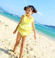 baby sun swimsuit - Children swimsuit swimwear girl two piece yellow princess baby girl swimwear sun protective swimwear toddler swim suit