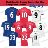 Wholesale 16 Top Thailand Quality Soccer Shirts Manchester Men Soccer Uniforms ROONEY IBRAHIMOVIC CARRICK SHAW DEGEA MATA etc Soccer Jersey