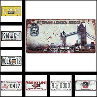 Wholesale License Plate Metal Tin Sign Posters Vintage Style Wall Ornament Coffee Decor x cm x inches