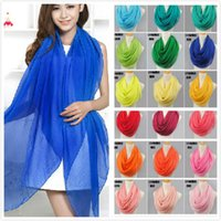 Wholesale New arrival solid color silk scarfs spring and autumn women s solid color chiffon scarf cachecol