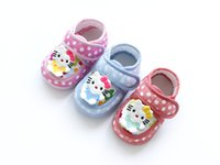 baby tapes - Hello kitty baby shoes infants autumn baby girls comfort tape dots home shoes Rubber sole pink baby first walkers quality years