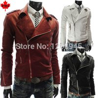 Wholesale Fall Leather Biker Jacket With Zipper Cuff Sports Leather Clothes Man Multi Zipper Turn Collar White Black Red