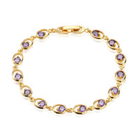 amethyst tennis bracelet sterling - Mysterious Amethyst k Yellow Gold Plated Oval Shape Tennis Bracelet High Quality Women s Party Jewelry