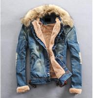 al por mayor abrigo de cuello de piel de la vendimia-Hombres chaqueta de invierno estirable piedra lavada de la chaqueta del dril de algodón ocasional con cuello de piel de lana gruesa capa Jeans para hombre ropa más del tamaño S-3XL