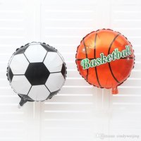 basketball birthday party - Football Basketball Foil Balloon x45cm Funny Cartoon Aluminum Film Balloon Printing Wedding Birthday Festival Party Supplies