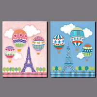 air pictures - Air balloon sweet Eiffel tower Pink blue picture decoration Canvas Painting wall Art children kid room print home decor unframed