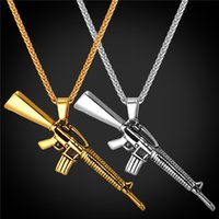 al por mayor arma de punk-M16 Collar Para Hombres 316L De Acero Inoxidable De Arma De Oro 18K Chapado En Oro Moda Punk