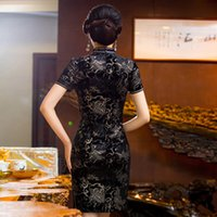 Wholesale The new true velvet cheongsam Cultivate one s morality show thin black retro improved cheongsam skirt mother with