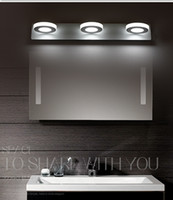 bathroom round mirror - Round Acrylic Mirror Light LED mirror lamp W W Bathroom Waterproof light Top Quality DHL