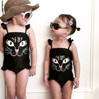 Wholesale kids cat swimwear cute girls cartoon printing swimsuit Kids Black Bathing Suit Children Summer printed one piece bathing suit yt