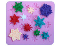 Wholesale DIY baking snowflake cookie molds minimum pieces a set pink silcone fondant biscuit mould kitchen supply