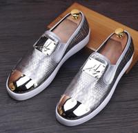 arrival platform shoes - NEW arrival Men Top Brand Designer Glitter golden Shoes Men s Dress Shoes Sequined Loafers Men s flats platform loafers Leisure shoes NXX454