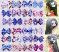 Hair Bows character ribbon - 50pcs quot frozen Bowknot cute grosgrain ribbon characters hair bows clips hair accessories Romantic kids baby girls headband flower HD3286