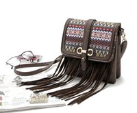 Wholesale New vintage women tassel leather cross body bag casual crochet shoulder bag hot sale message bags