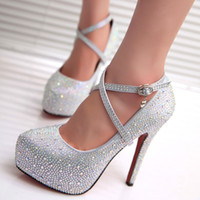 Wholesale 2016 Women High Heels Prom Wedding Shoes Lady Crystal Platforms Silver Glitter Rhinestone Bridal Shoes Thin Heel Party Pump