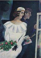 ДВОЙНОЙ ПОРТРЕТ, 1924 Автор MARC CHAGALL, Высокое качество Подлинная ручная роспись <b>MARC CHAGALL</b> COLOR Художественное масляное живопись На холсте с индивидуальными размерами