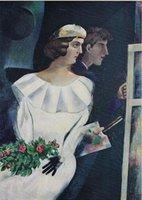 ДВОЙНОЙ ПОРТРЕТ, 1924 Шагала, Высокое качество подлинного расписанную Шагала ЦВЕТ Арт картина маслом на холсте подгонять размер