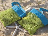 beach towel pocket - 500pcs fedex Small Size Children sand away beach mesh bag Beach Toys Clothes Towel Bag baby toy collection