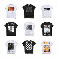 Wholesale High quality Men s stripe hip hop t shirt kanye west OFF WHITE casual fear of god t shirt men cotton OFF WHITE kanye virgil abloh colors