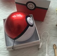 banks pendants - Poke ball design III projection power banks Pokeball poke mon go plus powerbank with Poke ball pendant LED light portable charger figure hot