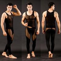 Wholesale Men s Super sexy pants underwear Mesh Long Johns Tops amp Bottoms Set S M L