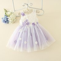 bay boat - 2016 New Design Children Summer Dress Korean Girl Flower Tulle Lace Princess Dress Bay Girl Pearls Flower Dress