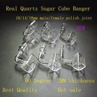 best clear nail polish - Exclusive Polished Clear Joint Quartz Sugar Cube Banger Nail Square Banger Nail Tip mm Female Male for glass bong water pipe best