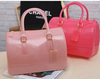 Wholesale 2016 Girls Candy Color Bags Korean Fashion Rubber Transparent Jelly Candy Bag Girls Casual Female Bag H155
