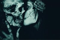 artwork poster - A876 Skull Kiss Gothic Abstract Fantasy Artwork Art Silk Poster Room Wall Decor x36inch