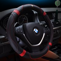 automobile steering wheel covers - Steering Wheel Covers with Upscale Genuine Leather diameter cm Spoke Wheel Car Styling Automobiles Interior Black Coffee specail kind