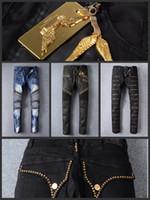 achat en gros de jean d'or-Senior designer marque 2016 robin jeans vélo manuelle pâte cristal ailes d'or noir robin jeans hommes de la mode pantalon zipper de la criminalité