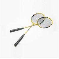 Wholesale Carbon Fiber Aluminum Badminton Rackets High Quality Graphite Sport Dexterous Yellow Blue Durable Badminton Rackets for Amateur Junior