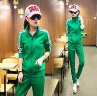 Wholesale Brand New Female Sport Suit Set Print Striped Women Tracksuits Sport Suits Piece Long Sleeve Casual Set Green Sportwear Set