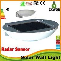 Wholesale LED solar lights radar motion sensor wall Lamp W LEDs pure white Street Light Wall Garden Lamp fast