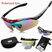 Wholesale 1 set Lens Brand Polarized Polarised Sports Glasses Sets New Mens Travel Sunglasses Gafas de sol lunettes de soleil Red Black