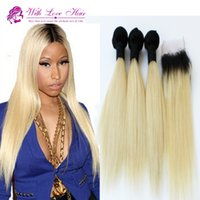 Wholesale 8A Cheap Peruvian Virgin Ombre Straight Human Hair With Closure ombre blonde hair weaves Bundles With x3 Lace Closure