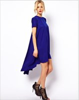 Wholesale Swallow Tail Hem - 2016 New Fashion Summer Women Solid Color Swallow Tail Style Mid-Calf Length Swing Hem Short Sleeve O-Neck Girl Dress in Stock