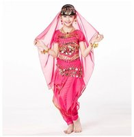 children dance costumes - Children Indian Dance piece Set Costume Top Belt Pants and Head Pieces Coin Bracelets Bollywood Dance Costumes for Kids