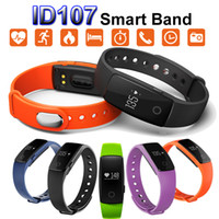 Wholesale ID107 Bluetooth Heart Rate Monitor Smart Band Bracelet Bangle Watch Smartband Fitness Tracker Sports Wristbands for Android iOS Smartphone