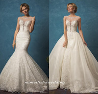 Cheap Mermaid Wedding Dresses with Detachable Skirt 2016 Vintage Lace Sheer Neck Amelia Sposa Beaded Crystals Gorgeous Overskirt Bridal Gowns
