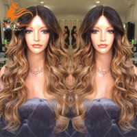 Cheap Body Wavy Full Lace Human Hair Wigs Ombre For Black Women Brazilian Two Tone Ombre Color Lace Front Wavy Wig
